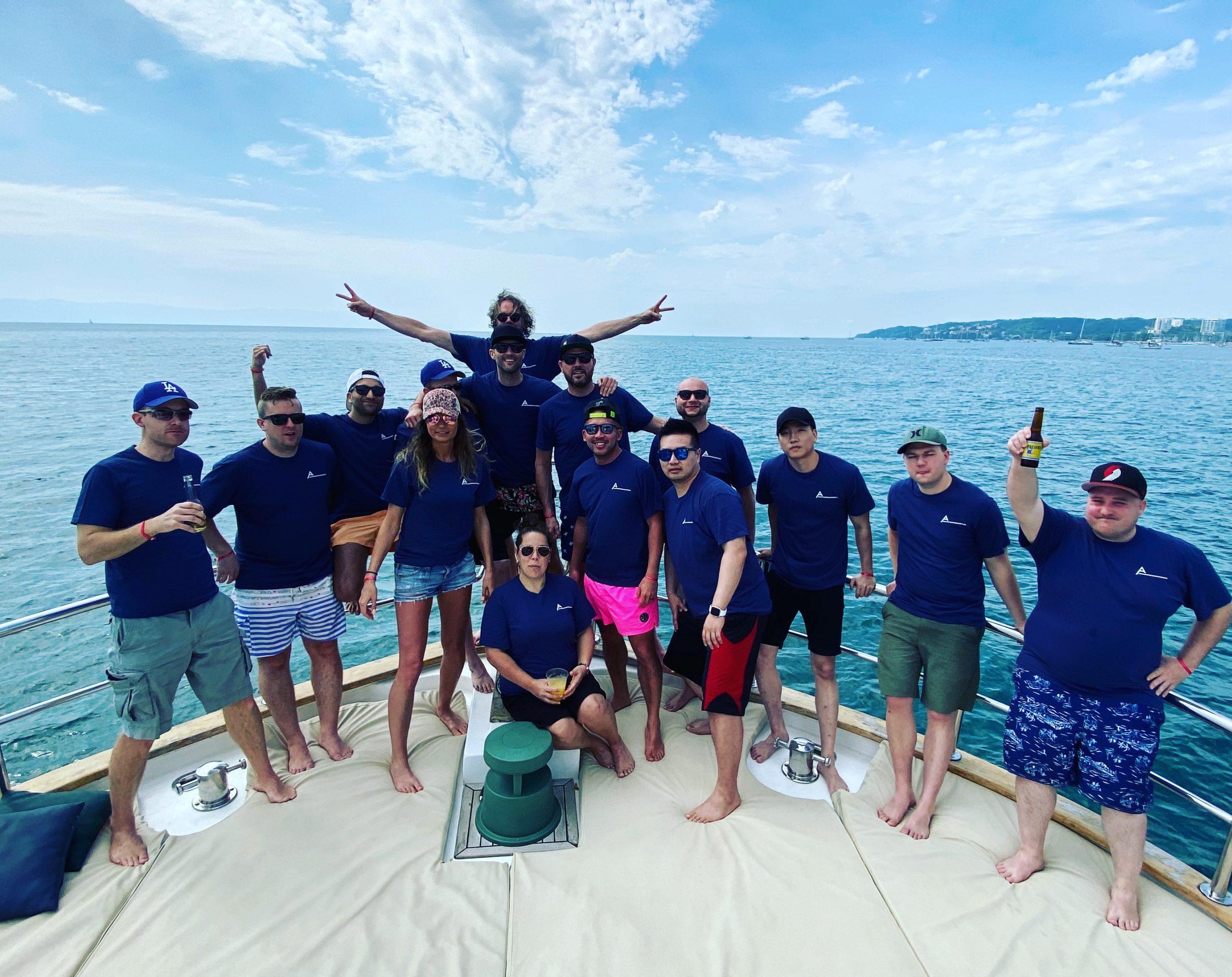 Apex Wireless Staff on a boat
