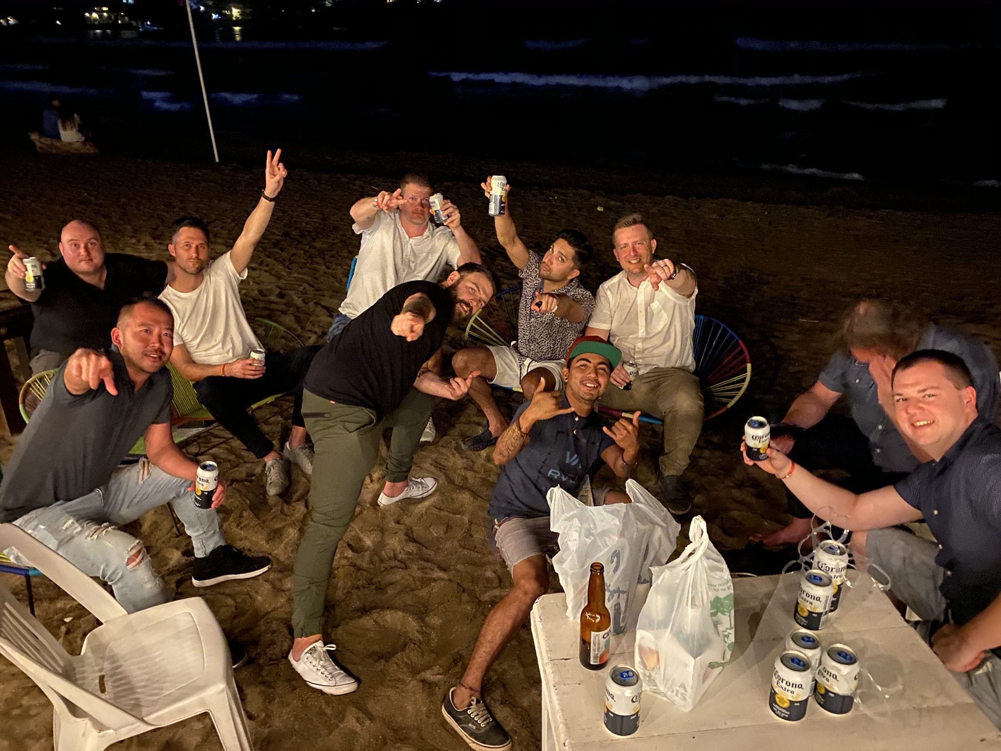 Apex Wireless stagg on the beach having a good time